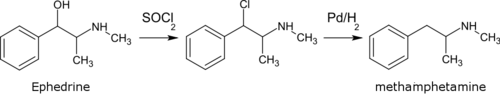 Methamphetamine from ephedrine via chloroephedrine en.png
