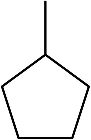 Methylcyclopentane - Image: Methylcyclopentane structure