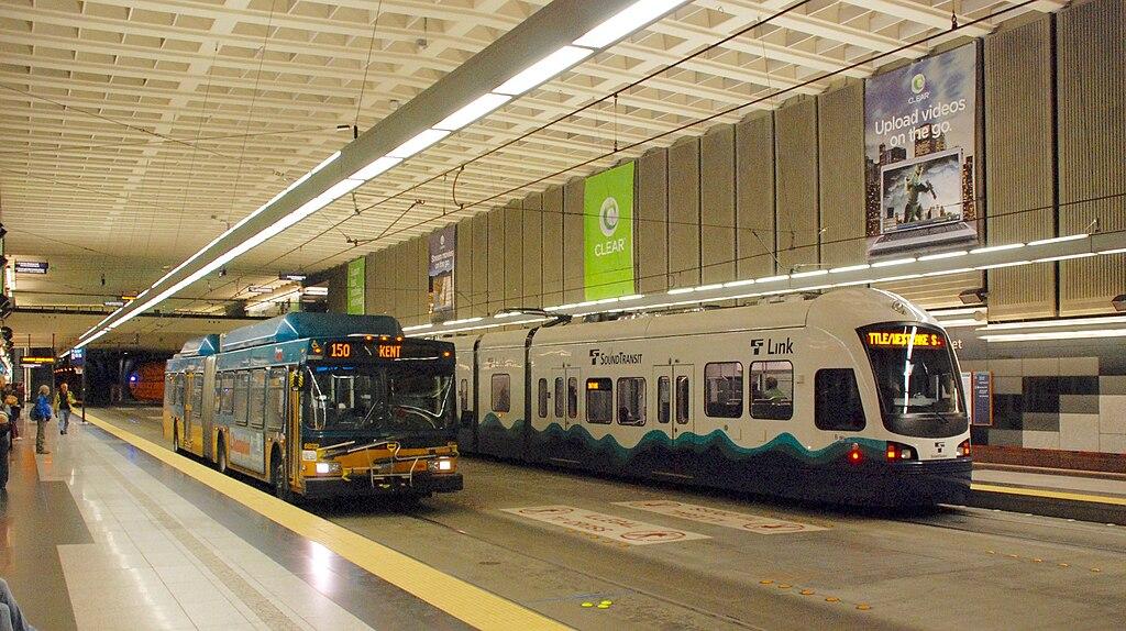 File Metro Bus And Link Light Rail Passing At University Street