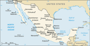 Outline of Mexico - An enlargeable map of the United Mexican States