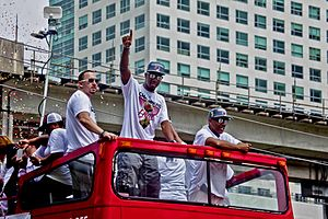 Norris Cole (basketball) - Cole (center) during the Heat's 2012 Championship Parade in Miami.