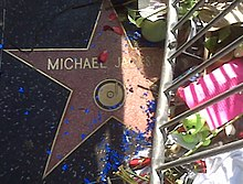 "A pink star with the writing ""Michael Jackson"" and a gold colored rim. The star is surrounded by a metal silver colored barrier and flowers. There is also blue confetti and pink rose bud pedals on top of the star."
