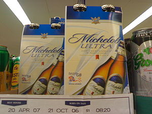 Anheuser-Busch brands - Michelob Ultra on a supermarket shelf