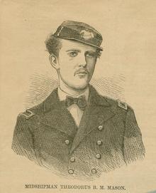 Un disegno in bianco e nero delle spalle e capo di giovane uomo indossa l'uniforme di un guardiamarina nella Marina degli Stati Uniti c.  1868.