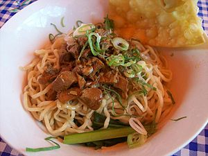 Chinese Indonesian cuisine - Mie ayam, and pangsit goreng, a popular noodle dish in Indonesia