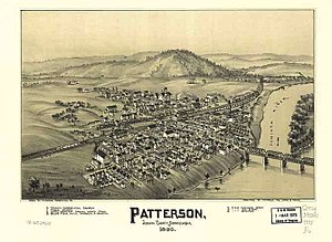 Mifflin, Pennsylvania - 1895 bird's-eye-view of Mifflin, then known as Patterson