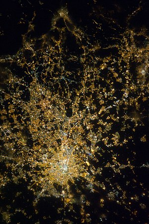 Milan metropolitan area - The Milan metropolitan area as seen from the International Space Station (North roughly on the top side)