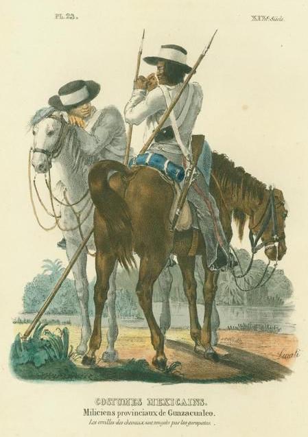 Miliciens provinciaux de Guazacualco by Claudio Linati 1828