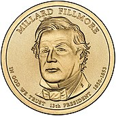 Sketch of the obverse side of Millard Fillmore's presidential dollar coin