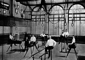 Turners - Gymnastics room in Turner Hall, Milwaukee, ca. 1900