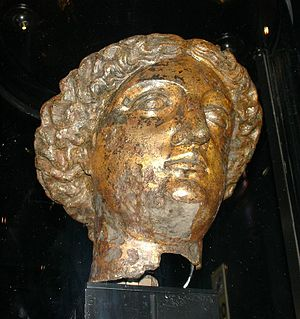 "Minerva - A head of ""Sulis-Minerva"" found in the ruins of the Roman baths in Bath"