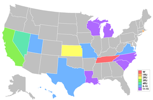 Miss USA 2007 - Map showing placements by state