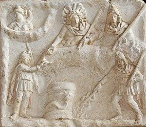 El banquete de Mitra en un bajorelieve que se conserva en el Museo del Louvre