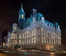 Montreal City Hall: large, old square building at night