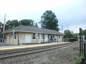 Montvale station - The Montvale Station as seen from Railroad Avenue at the station depot and mini-high level platform.