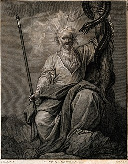 Moses with his rod and his brazen serpent. Engraving by J. H Wellcome V0034280