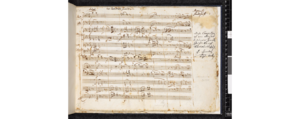 Adagio and Rondo for glass harmonica, flute, oboe, viola and cello - First page of manuscript of Mozart's Adagio and Rondo K.617 in the Stefan Zweig collection of the British Library (Zweig MS 61)