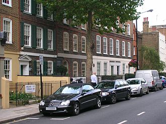 Eia - Ebury Street, Belgravia. This part of the street has been renamed Mozart Terrace after the composer Wolfgang Mozart, who in 1764 stayed at the house to the left of the lamp post and composed his first symphony there.