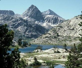 Mount Spencer (California) - Mount Spencer (center left) from Evolution Lake