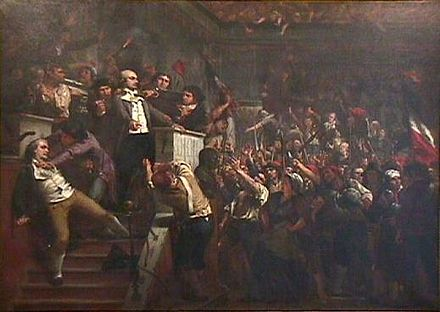 Sans-culottes threaten deputy Lanjuinais, on the podium during the takeover of the Convention (June 2, 1793) Muller - Lanjuinais a la tribune de la Convention.jpg