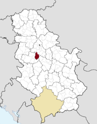 Location of the municipality of Lazarevac within Serbia