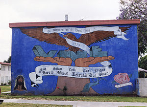 Estrada Courts - Mural at one of the main entrances to Estrada Courts.