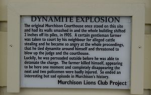 Murchison, New Zealand - Commemorative plaque for the 1905 Murchison suicide attack