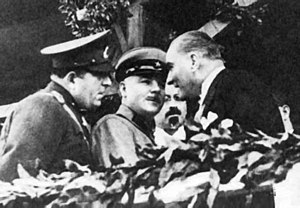 Kliment Voroshilov - With the Turkish leader Mustafa Kemal Atatürk at the celebration ceremony for the tenth anniversary of the Turkish Republic in 1933
