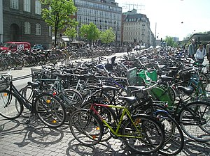 Cycling in Denmark - Available parking facilities are often inadequate in the major cities. Nørreport Station in Copenhagen.
