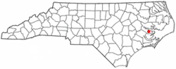 Location of Aurora, North Carolina