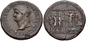 Adlocutio - AE of Nero with adlocutio