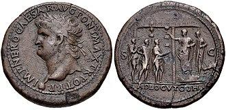 Adlocutio - AE of Nero with adlocutio