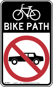 Bicycle lane sign in New York City