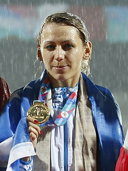 Nadiya Dusanova Women's High Jump Medal Winners (cropped).jpg