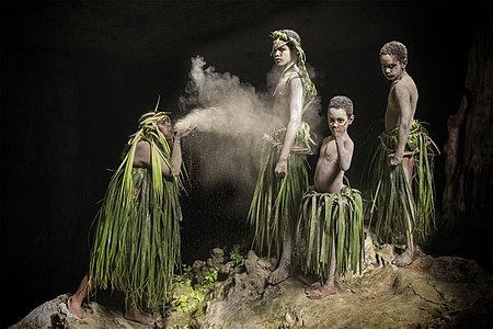 Dancers during a Wetr creation tale dance in Lifou, New Caledonia, Melanesia.