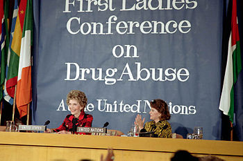 "English: ""Nancy Reagan speaking at the Un..."
