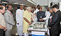 Narendra Modi inspecting the model of the newly constructed building of the ESIC Medical College and Hospital, in Coimbatore, Tamil Nadu. The Governor of Tamil Nadu, Dr. K. Rosaiah.jpg