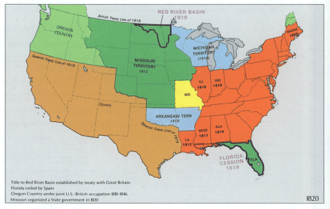 Timeline of United States history (1820–1859) - U.S. territorial extent in 1820