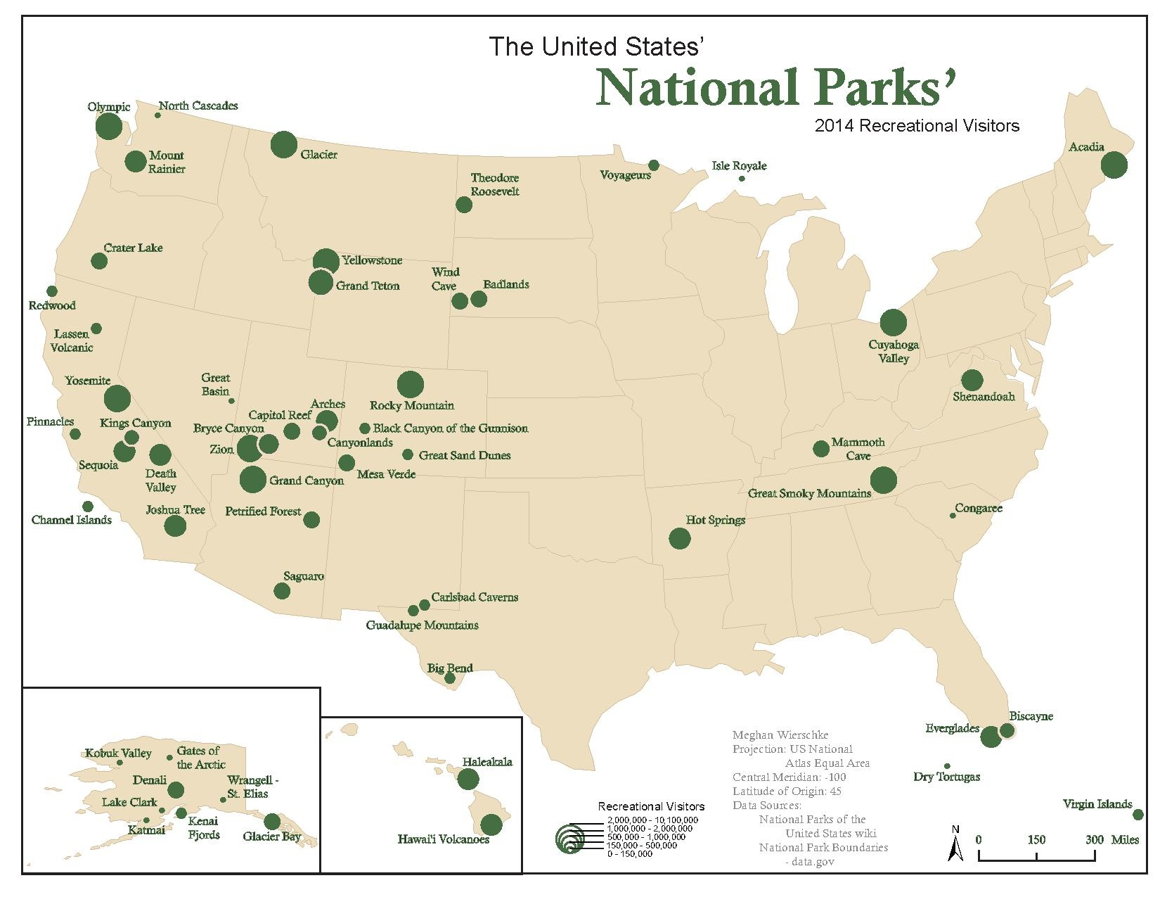 Symbolic representation of visitors at each National Parkx400px