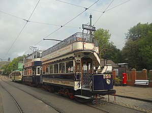 National Tramway Museum - A line up of trams at Town End terminus at National Tramway Museum, Crich, Derbyshire