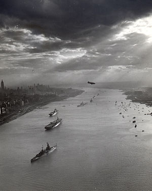Navy Day - Ships anchored on the Hudson River north above New York City for the 1945 Navy Day at the victorious end of World War II.