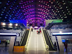 Anaheim Regional Transportation Intermodal Center - Interior of the Anaheim Station at night