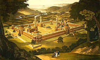 Utopia - New Harmony, a Utopian attempt; depicted as proposed by Robert Owen.