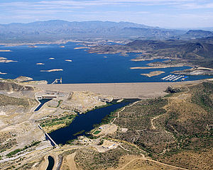New Waddell Dam - The New Waddell Dam with adjacent irrigation and power facilities