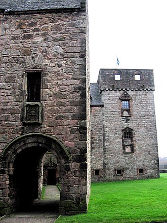 Newark Castle, Port Glasgow - The barrel vaulted gatehouse entrance leads by a path to the main entrance