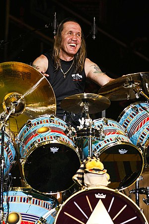 300px Nicko McBrain 2 Drummers and their Big Drum Sets   Who plays the largest drum set?