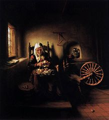 An Old Woman Peeling Apples