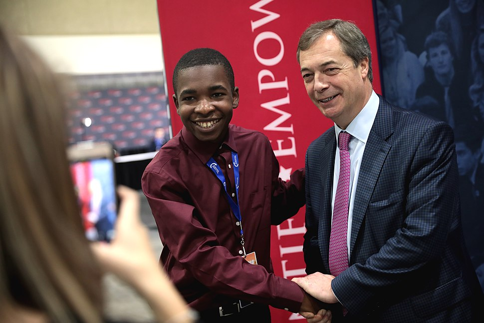 Nigel Farage with attendee (46400882322)