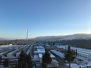 Nižná, Tvrdošín District - Nizna - Industrial zone in winter of 2016