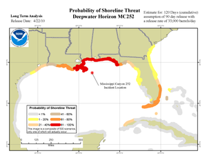Timeline of the Deepwater Horizon oil spill (July 2010) - NOAA projections issued July 2 on probability of oil coming ashore